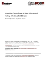 Condition dependence of male lifespan and calling effort in a field cricket