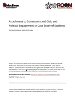 Attachment to community and civic and political engagement: a case study of students