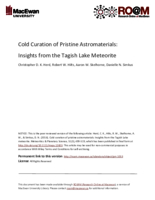 Cold curation of pristine astromaterials: insights from the Tagish Lake meteorite