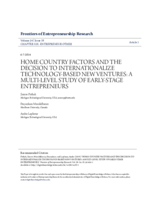 Home country factors and the decision to internationalize technology-based new ventures: a multi-level study of early-stage entrepreneurs