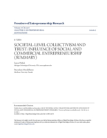Societal-level collectivism and trust: influence on social and commercial entrepreneurship (summary)