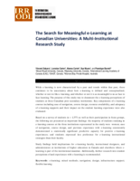 The search for meaningful e-learning at Canadian universities: a multi-institutional research study