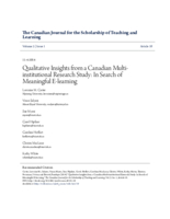 Qualitative insights from a Canadian multiinstitutional research study: in search of meaningful e-learning