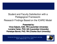 Student and faculty satisfaction with a pedagogical framework: research findings based on the ICARE model