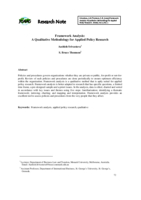 Framework analysis: a qualitative methodology for applied policy research