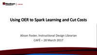 Using OER to spark learning and cut costs