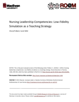 Nursing leadership competencies: low-fidelity simulation as a teaching strategy