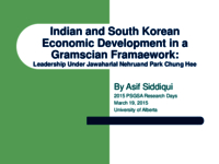Indian and South Korean economic development in a Gramscian framework: leadership under Jawaharlal Nehru and Park Chung Hee