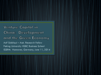 Venture capital in China: development and the green economy