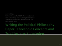 Writing the political philosophy paper: threshold concepts and troublesome knowledge