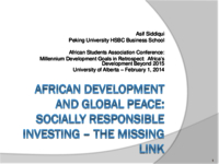 African development and global peace: socially responsible investing – the missing link