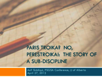 Paris Troika? No, Perestroika: the story of protest and reform within a sub-discipline