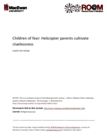 Children of fear: helicopter parents cultivate cluelessness