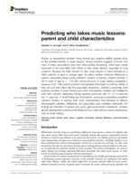 Predicting who takes music lessons: parent and child characteristics
