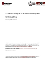 A usability study of an access control system for group blogs