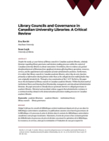 Library councils and governance in Canadian university libraries: a critical review