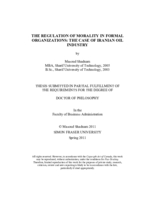 The regulation of morality in formal organizations: the case of Iranian oil industry