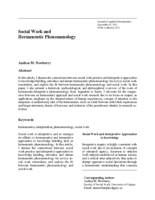 Social work and hermeneutic phenomenology