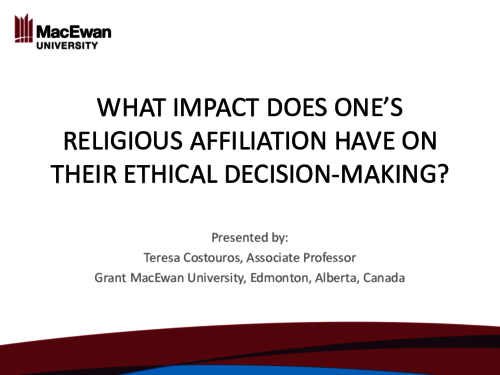 What impact does one's religious affiliation have on their ethical