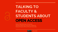 Talking to faculty and students about open access