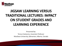 Jigsaw learning versus traditional lectures: impact on student grades and learning experience