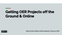 Getting OER Projects Off the Ground and Online