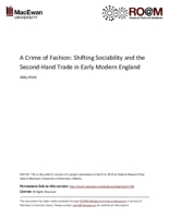 A crime of fashion: social mobility and the second hand clothing trade in early modern England