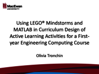 Using LEGO® Mindstorms and MATLAB in curriculum design of active learning activities for a first-year engineering computing course