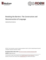 Breaking the barriers: the construction and deconstruction of language