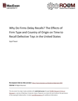 Why do firms delay recalls? The effects of firm type and country of origin on time to recall defective toys in the United States