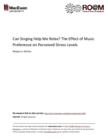 Can singing help me relax? The effect of music preference on perceived stress levels