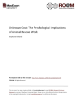 Unknown cost: the psychological implications of animal rescue work