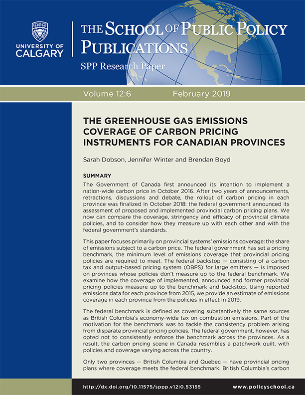 The greenhouse gas emissions coverage of carbon pricing instruments for Canadian provinces