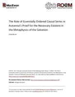 The role of essentially ordered causal series in Avicenna's proof for the Necessary Existent in the Metaphysics of the Salvation