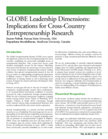GLOBE leadership dimensions: implications for cross-country entrepreneurship research