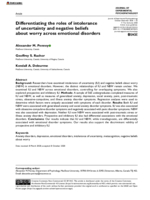 Differentiating the roles of intolerance of uncertainty and negative beliefs about worry across emotional disorders