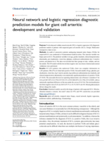 Neural network and logistic regression diagnostic prediction models for giant cell arteritis: development and validation