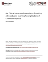 Are clinical instructors preventing or provoking adverse events involving students: A contemporary issue