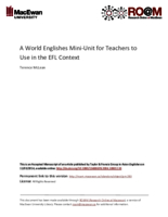 A world Englishes mini-unit for teachers to use in the EFL context
