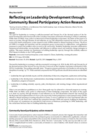 Reflecting on leadership development through community based participatory action research