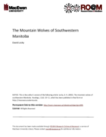 The mountain wolves of southwestern Manitoba